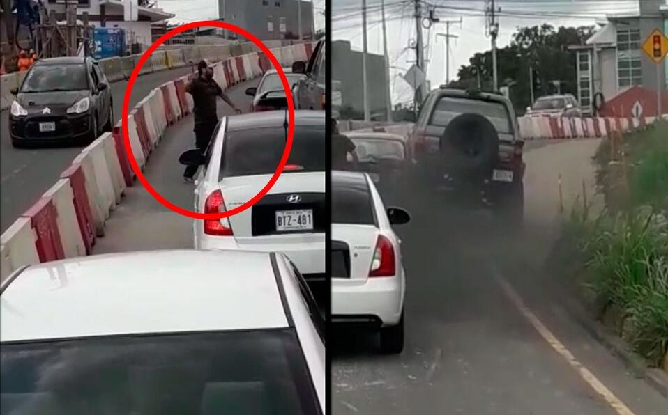 Sujeto golpea vehículo en plena vía pública