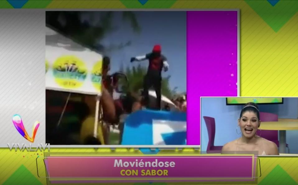 (+VIDEO) Baile con demasiado sabor casi termina mal