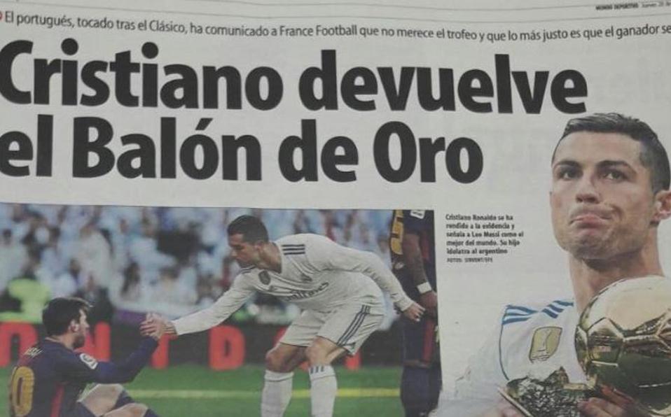 """El portugués salió """"muy tocado"""" del clásico y """"nada más acabar el partido, advirtió a sus compañeros que no merecía el Balón de Oro y que lo quería de"""