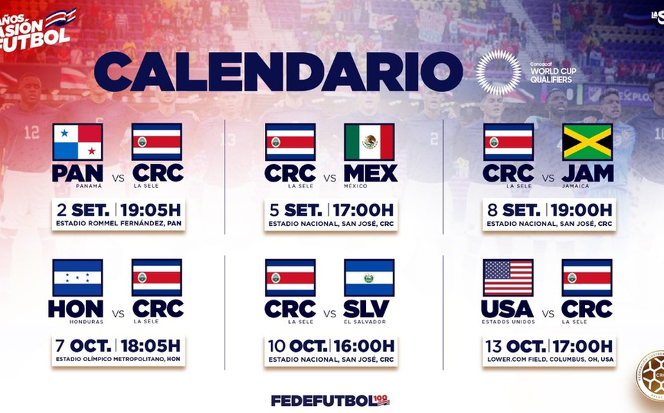 Fechas y sedes de partidos de la Tricolor