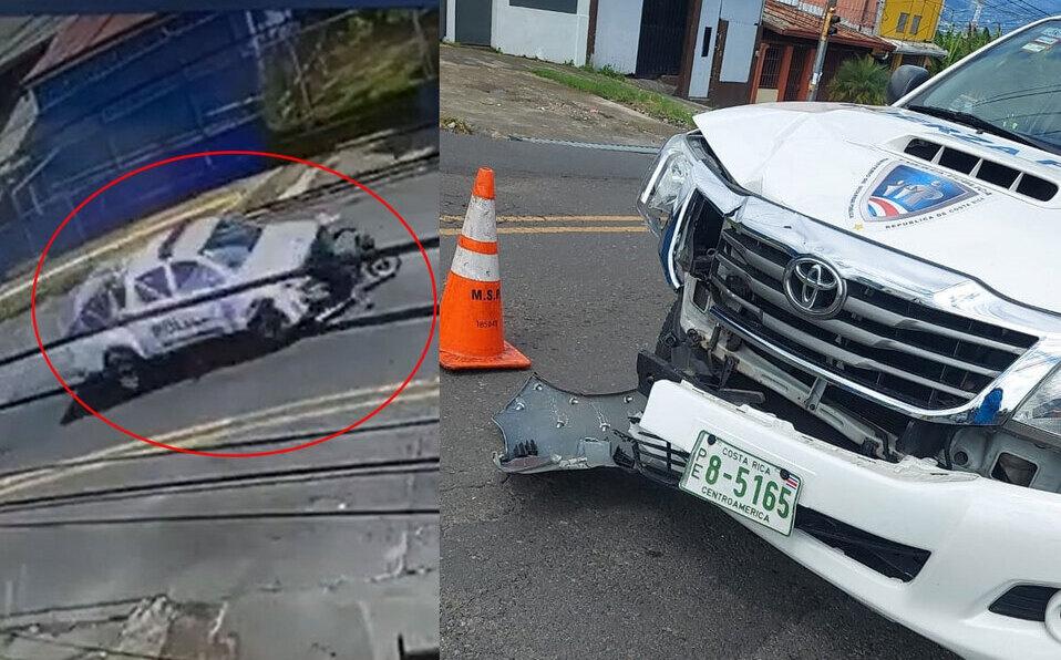 Patrulla de Fuerza Pública colisiona contra motorizado en Guadalupe.