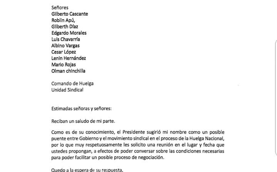 Patricia Mora envía carta a líderes sindicales