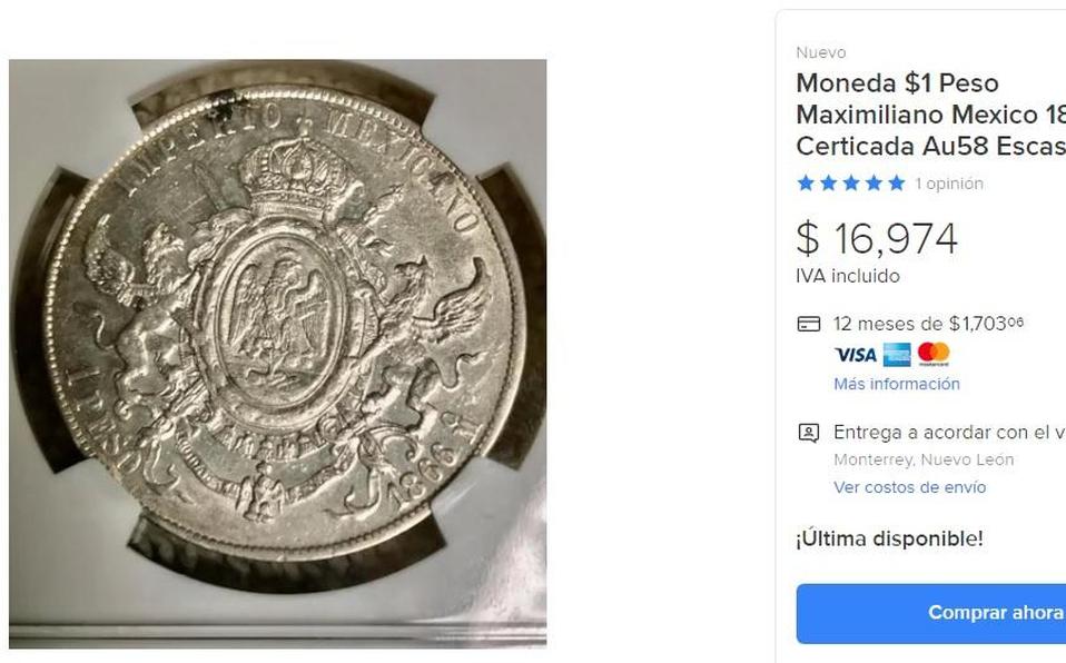 Moneda Maximiliano Emperador, de 1 peso, se vende en casi $17,000