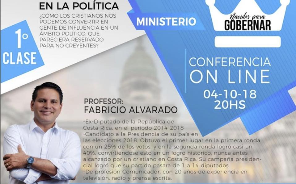 ¡Fabricio Alvarado vuelve a hablar de política! Brindará charla virtual sobre cristianos en la política