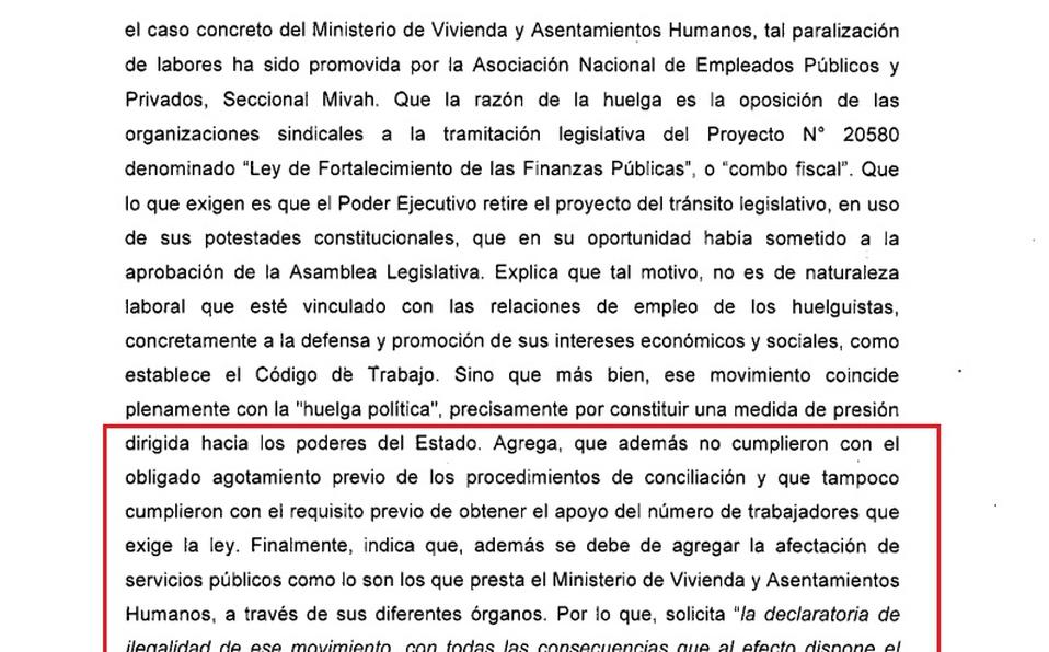 ¡Ilegal! Huelga en el Ministerio de Vivienda no cumplió con los requisitos